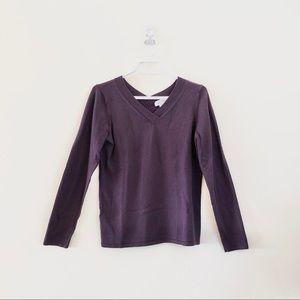 💕 CALVIN KLEIN Purple V-Neck Sweater Sz M 💕